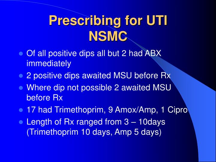 Prescribing for UTI
