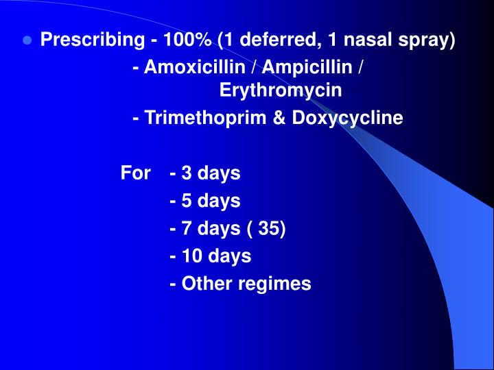 Prescribing - 100% (1 deferred, 1 nasal spray)