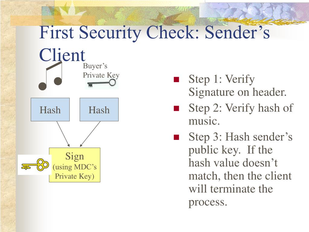 First Security Check: Sender's Client