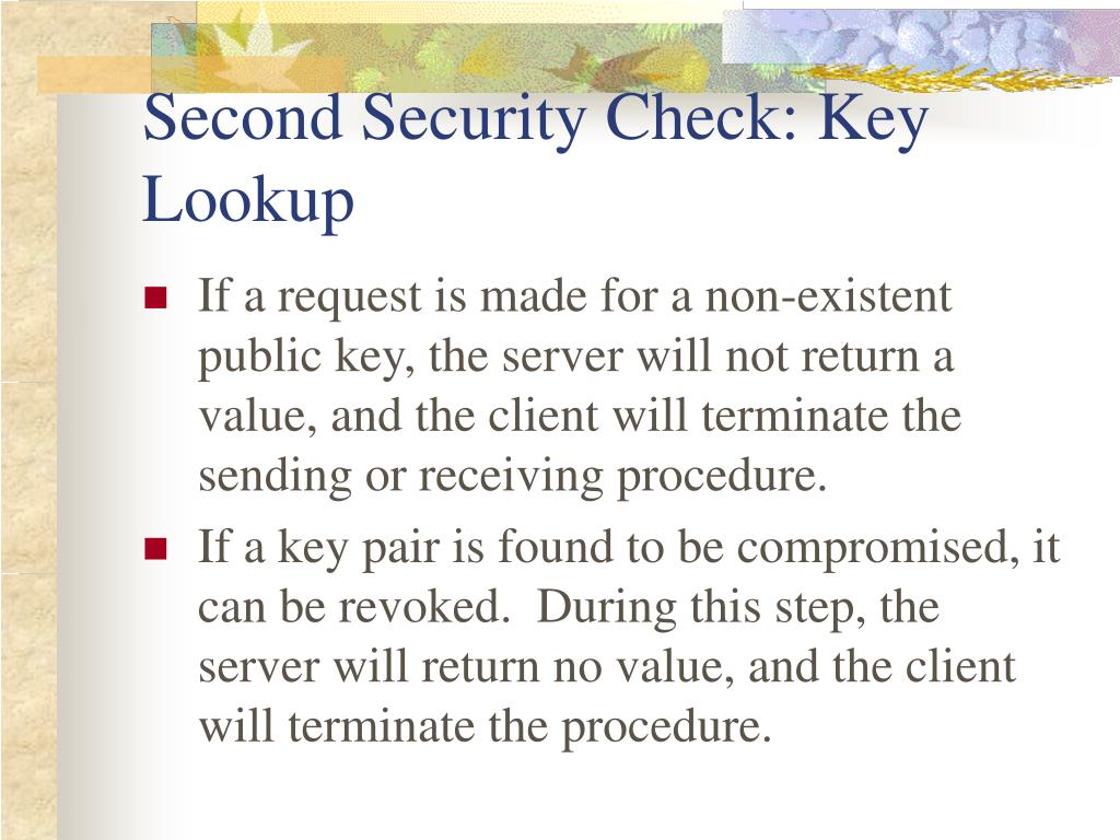 Second Security Check: Key Lookup