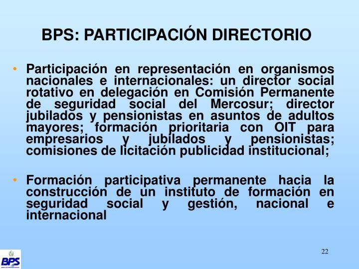 BPS: PARTICIPACIÓN DIRECTORIO