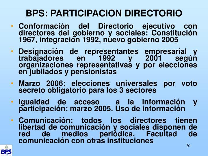 BPS: PARTICIPACION DIRECTORIO