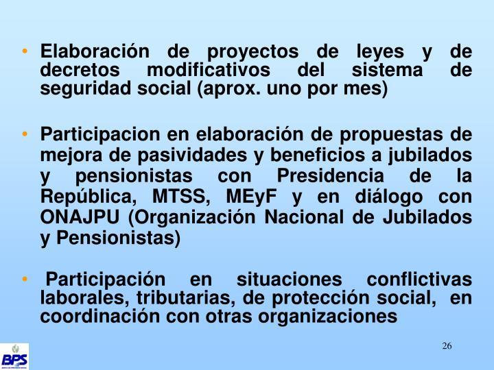 Elaboración de proyectos de leyes y de decretos modificativos del sistema de seguridad social (aprox. uno por mes)