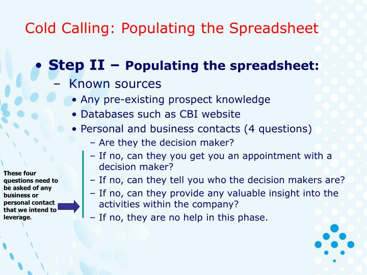 These four questions need to be asked of any business or personal contact that we intend to leverage