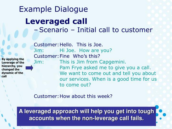 By applying the Leverage of the hierarchy, you changed the dynamic of the call
