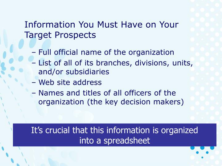 Information You Must Have on Your Target Prospects