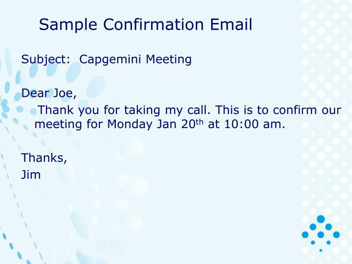 Sample Confirmation Email