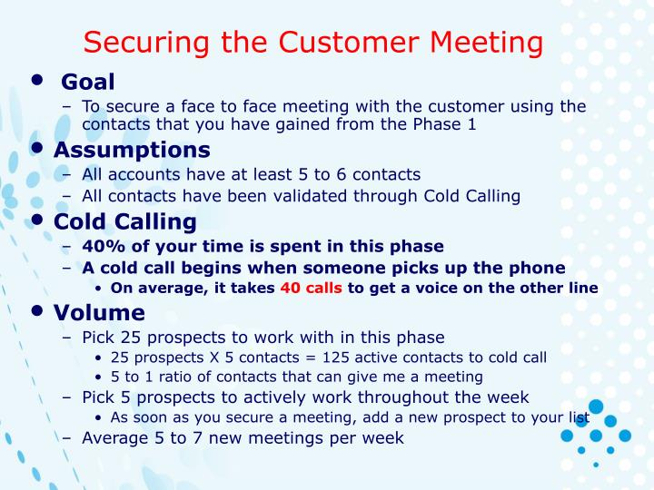 Securing the Customer Meeting