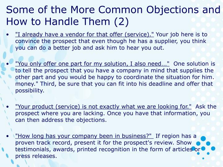 Some of the More Common Objections and How to Handle Them (2)