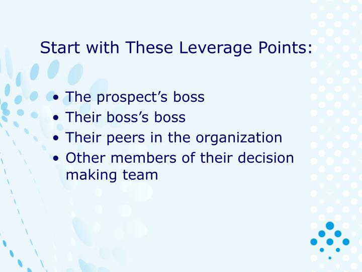 Start with These Leverage Points: