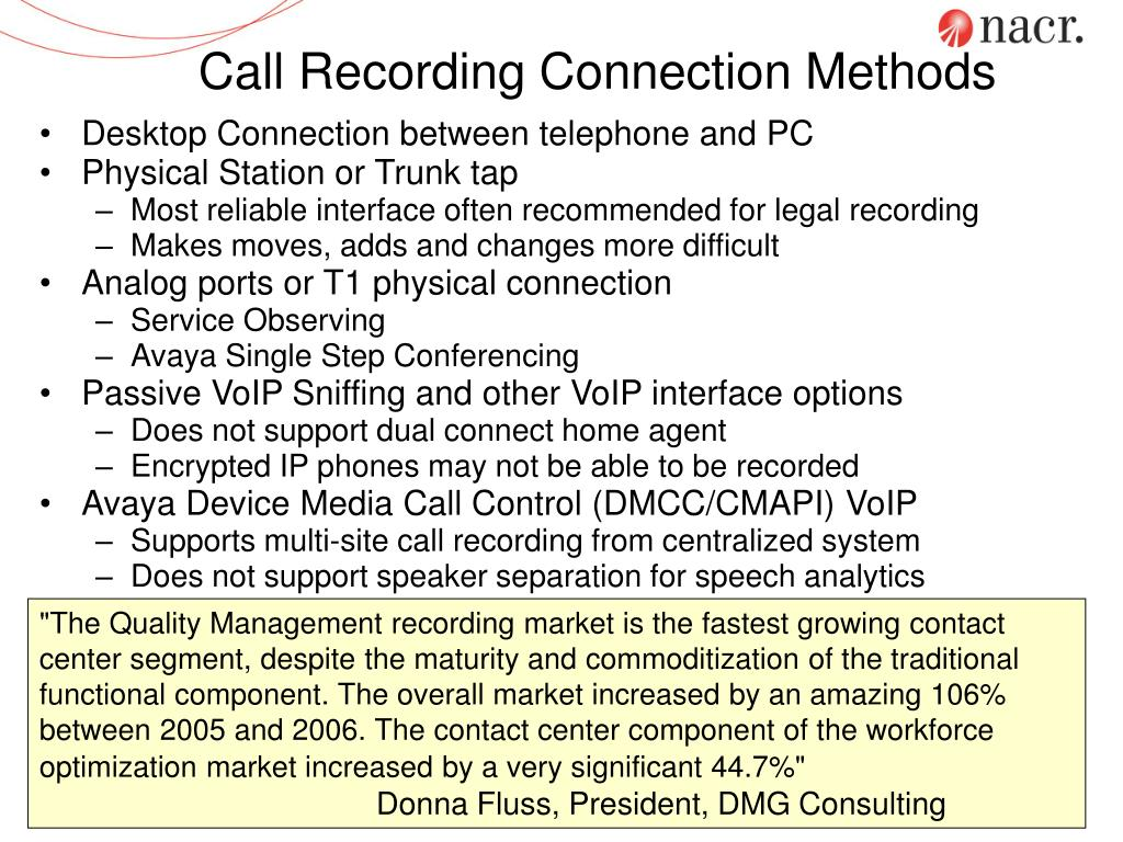 Call Recording Connection Methods