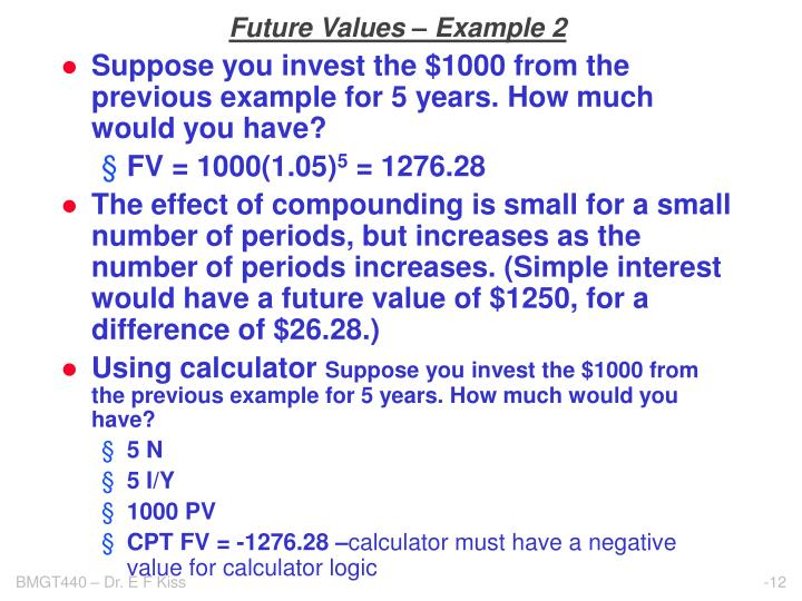 Future Values – Example 2
