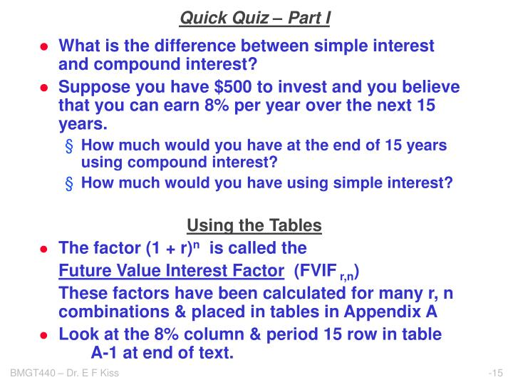 Quick Quiz – Part I
