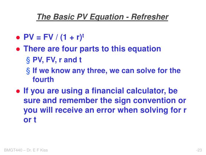 The Basic PV Equation - Refresher