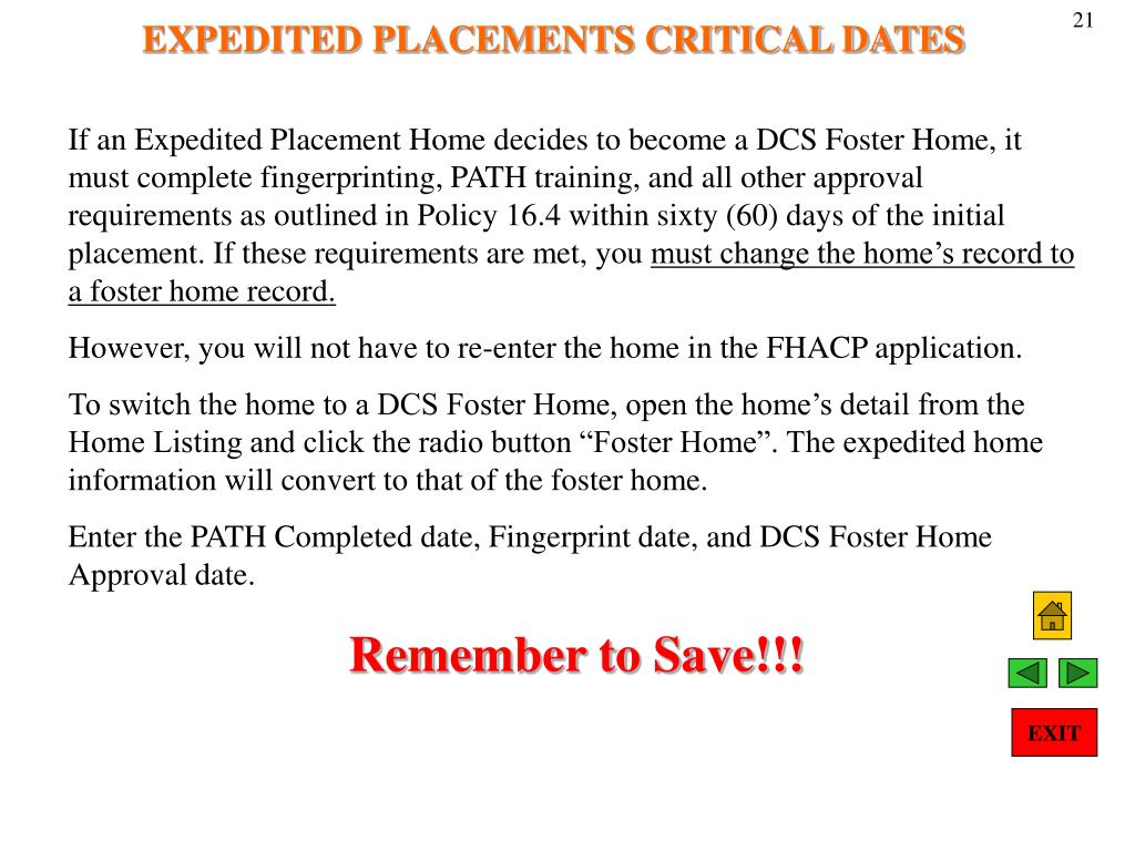 EXPEDITED PLACEMENTS CRITICAL DATES