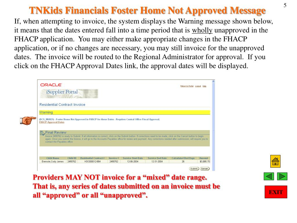 TNKids Financials Foster Home Not Approved Message