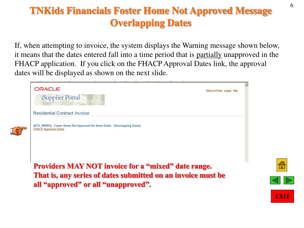 TNKids Financials Foster Home Not Approved Message Overlapping Dates