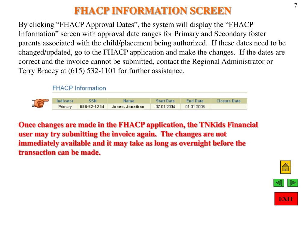 FHACP INFORMATION SCREEN