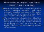 mgm studios inc v replay tv inc no 01 09801 c d cal nov 14 2001