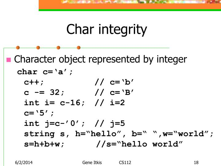 Char integrity