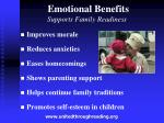 emotional benefits supports family readiness