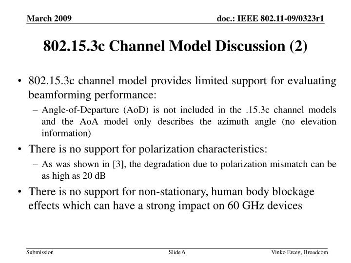 802.15.3c Channel Model Discussion (2)