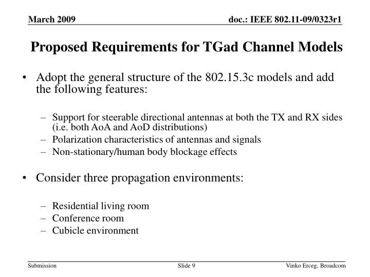 Proposed Requirements for TGad Channel Models