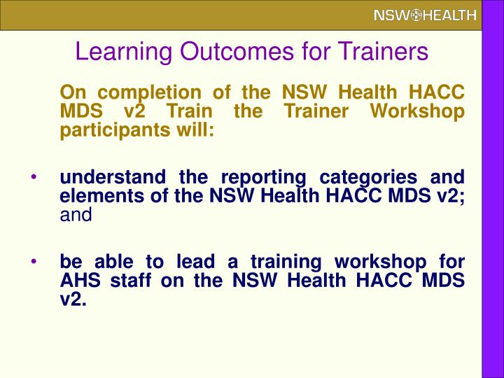 Learning Outcomes for Trainers