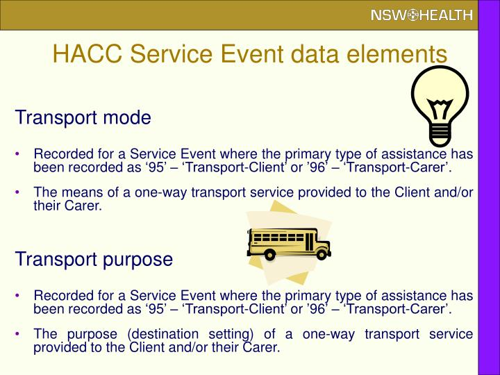 HACC Service Event data elements