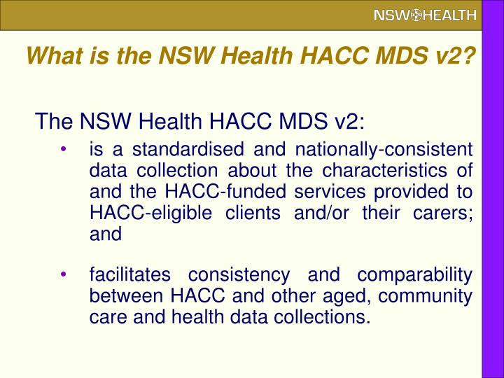 What is the NSW Health HACC MDS v2?