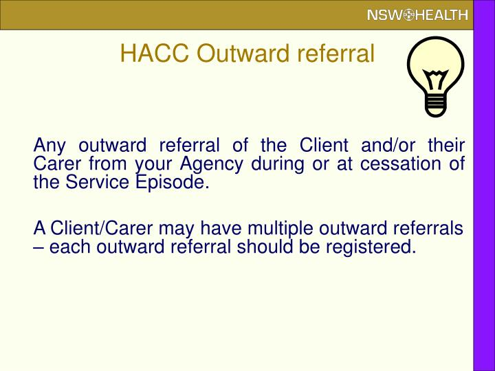 HACC Outward referral