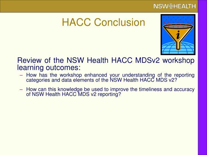HACC Conclusion