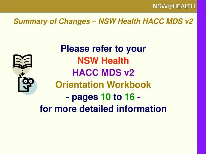 Summary of Changes – NSW Health HACC MDS v2