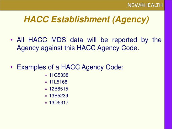 HACC Establishment (Agency)