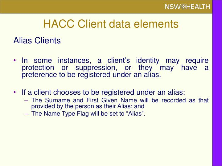 HACC Client data elements