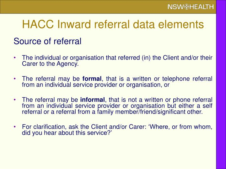 HACC Inward referral data elements