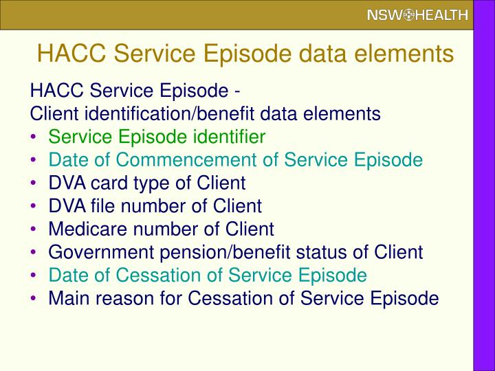 HACC Service Episode data elements