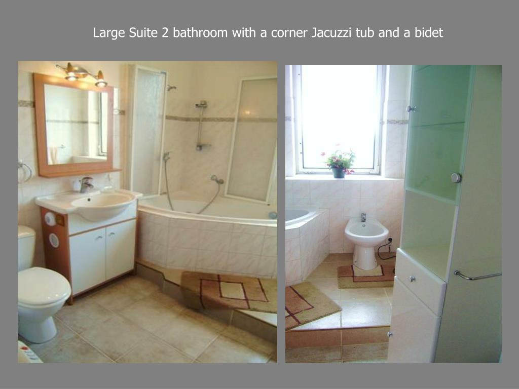 Large Suite 2 bathroom with a corner Jacuzzi tub and a bidet