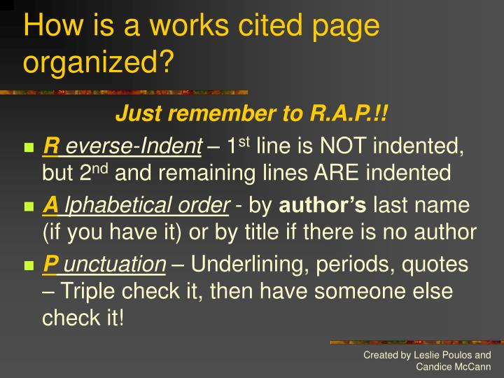 How is a works cited page organized?