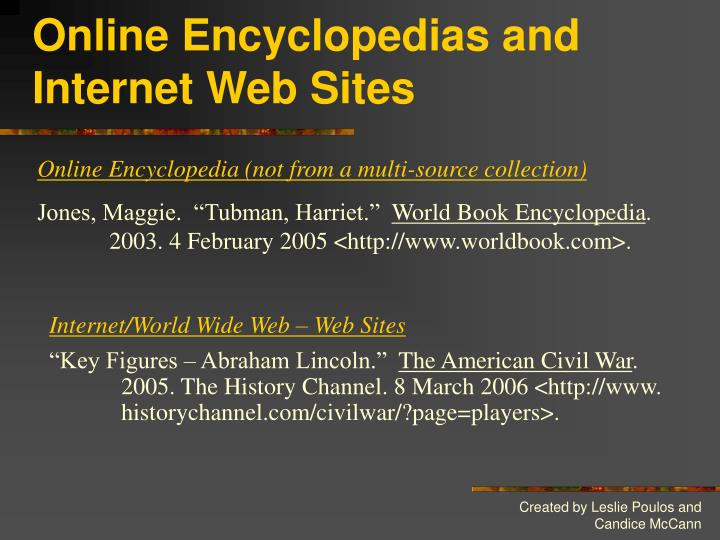 Online Encyclopedias and