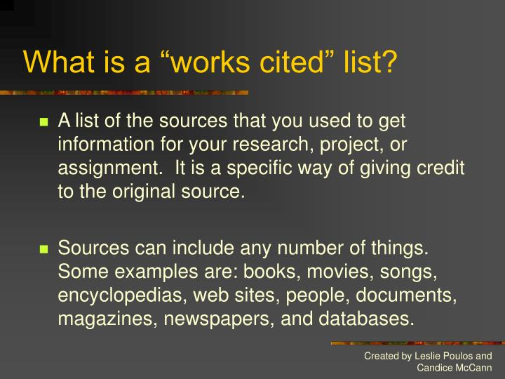 What is a works cited list