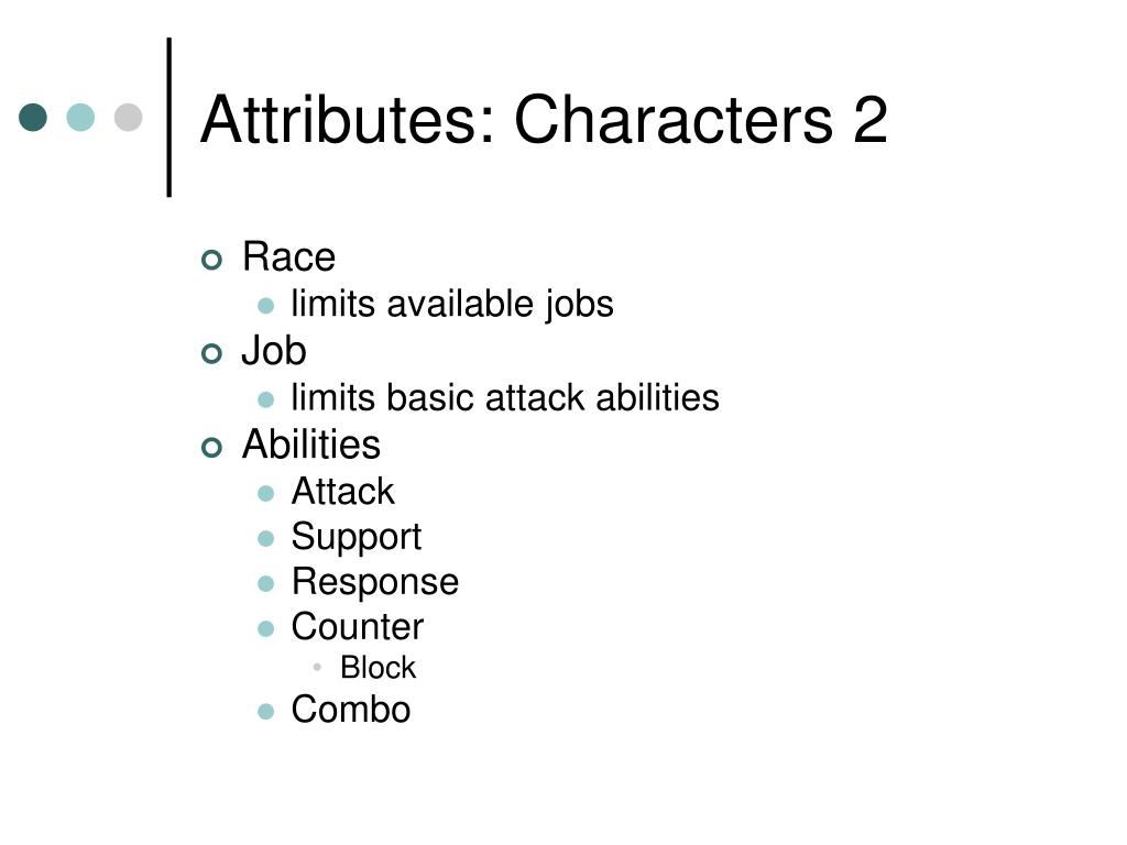 Attributes: Characters 2