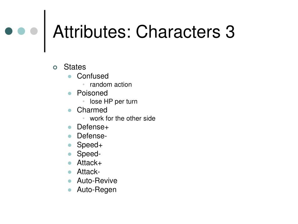 Attributes: Characters 3