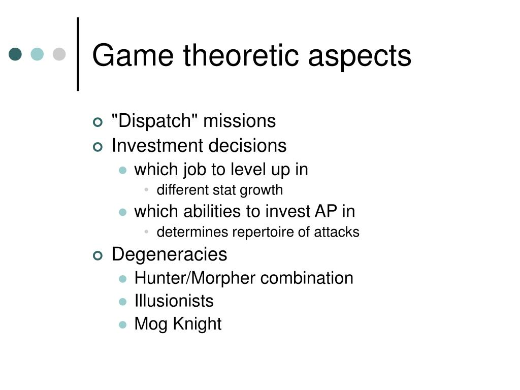 Game theoretic aspects