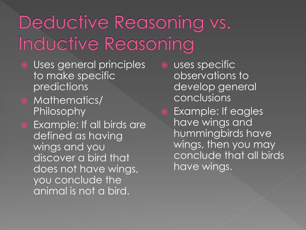 Deductive Reasoning vs. Inductive Reasoning