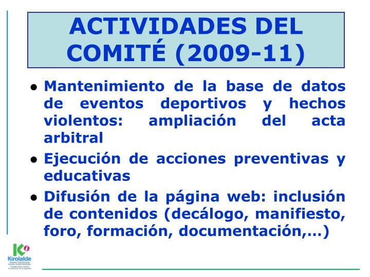 ACTIVIDADES DEL COMITÉ (2009-11)