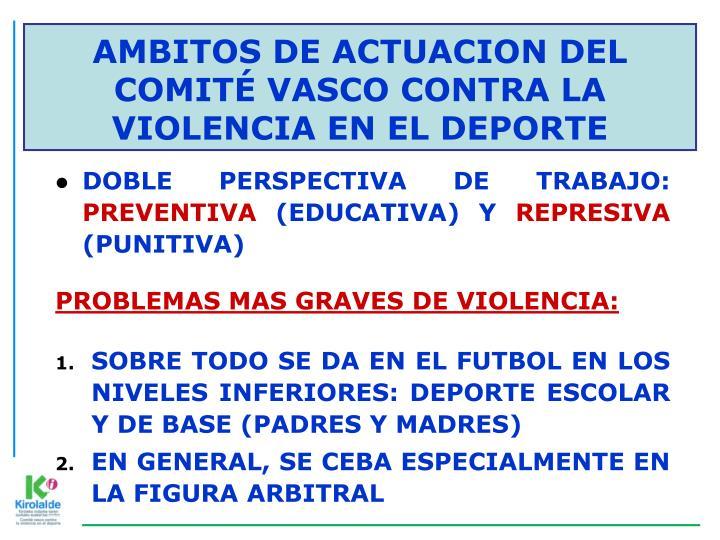 AMBITOS DE ACTUACION DEL COMITÉ VASCO CONTRA LA VIOLENCIA EN EL DEPORTE