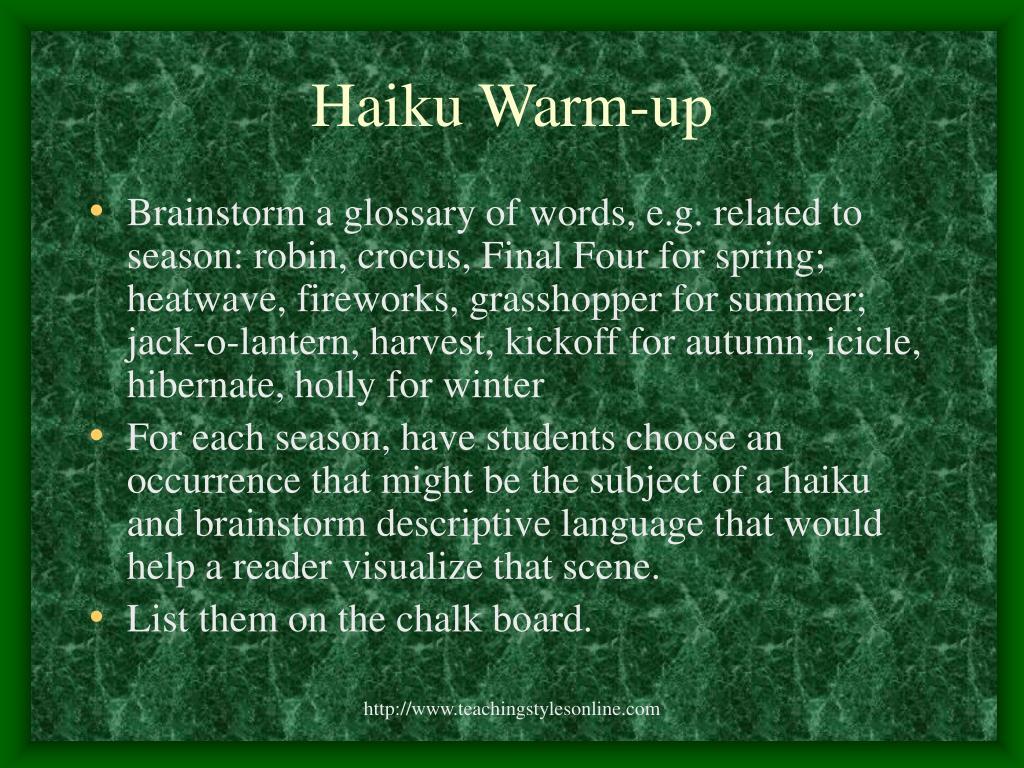 Haiku Warm-up