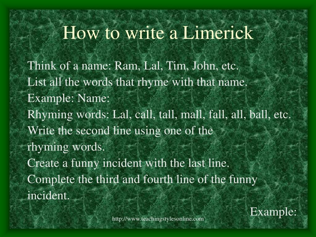 How to write a Limerick
