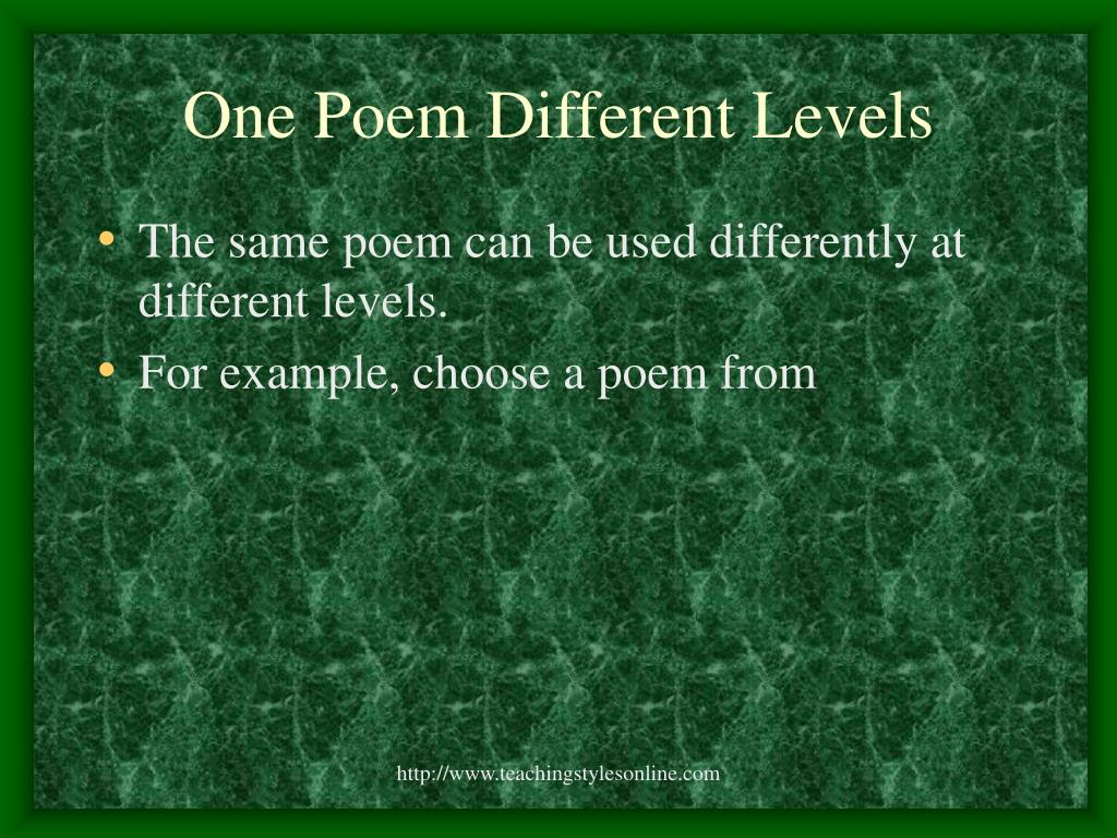 One Poem Different Levels